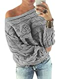 YOINS Schulterfrei Oberteile Damen Herbst Winter Off Shoulder Pullover Pulli für Damen Loose Fit...
